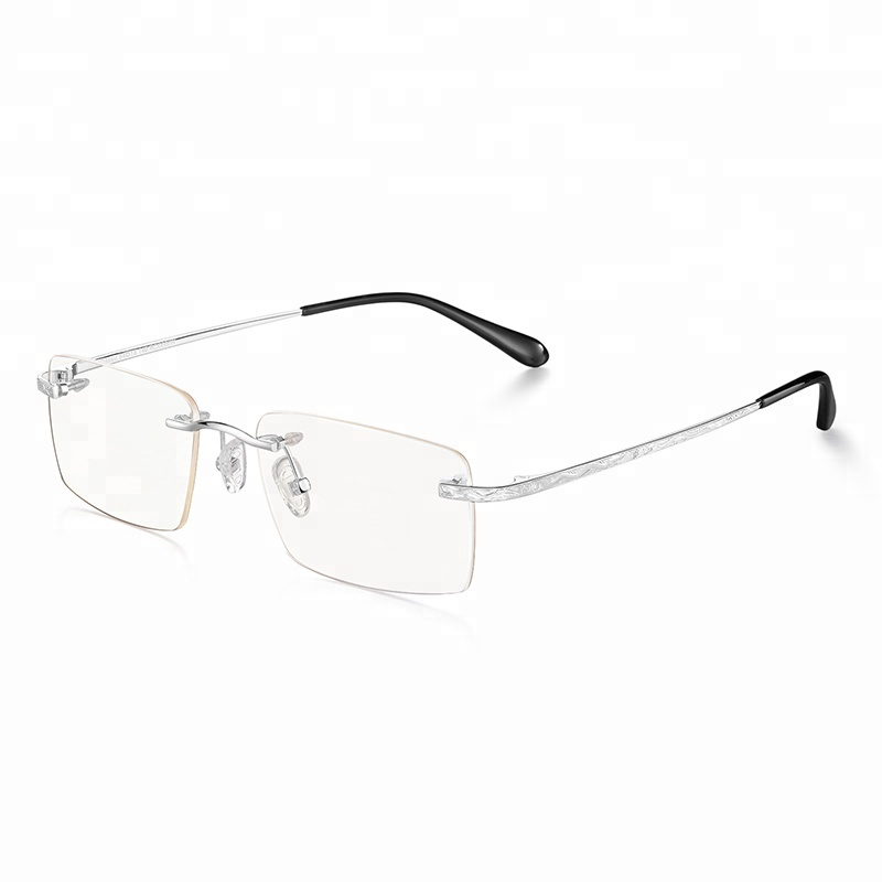 Hand Made 18K Solid Gold Rimless Business Eyewear Glasses Non Prescription Optical Frames for Gentleman