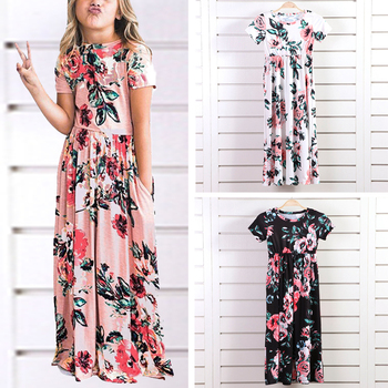 b974d6e64d Floral Print Flared Maxi Dress Kids short Sleeve Cute Dresses with Side  Pockets