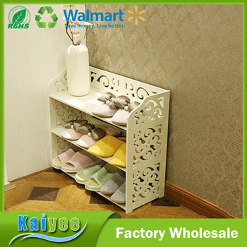 3 Layer Wall Mounted Shoe Racks White Carve Wooden Shoe Racks For