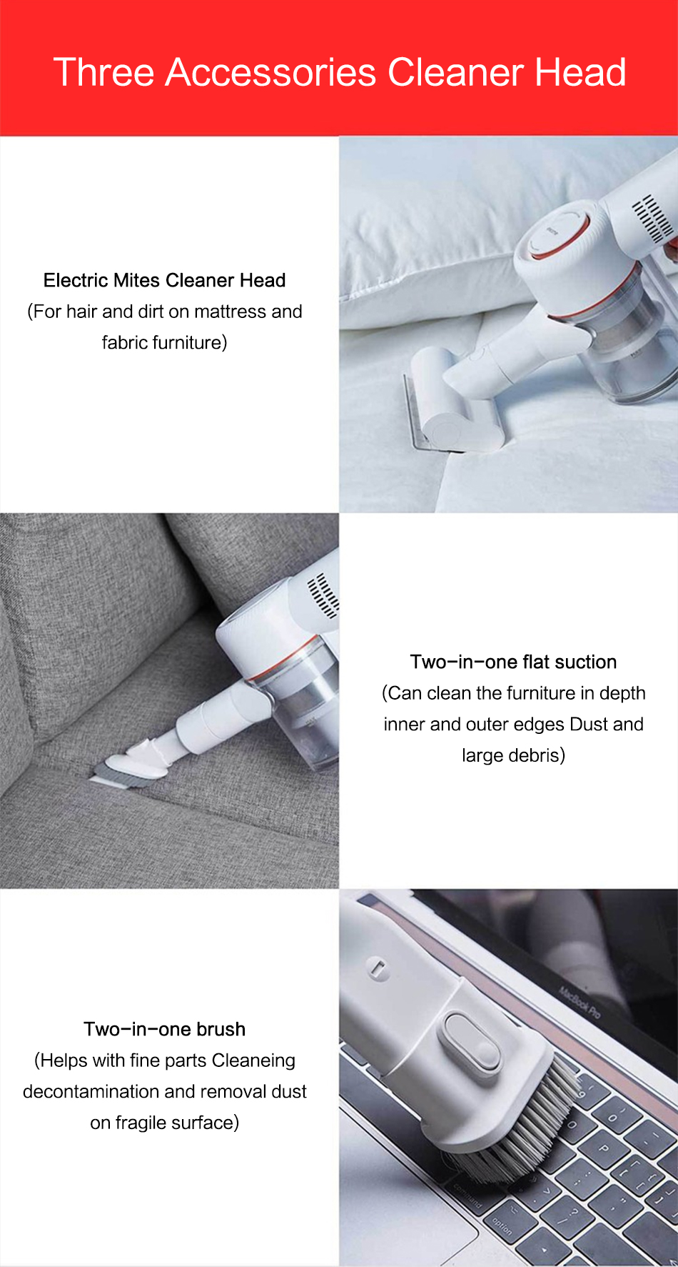 Handheld Cordless Electric Stick Vacuum Cleaner Portable Wireless Cyclone Filter 115AW Strong Suction Carpet Dust Collector
