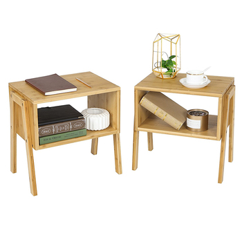 High quality bedroom furniture natural bamboo night stand bedside table with open storage shelf