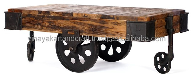 Vintage Industrial Cart Coffee Table With Cast Iron Wheels   Buy Vintage Industrial  Cart,Industrial Console Table,Industrial Coffee Table Product On ...