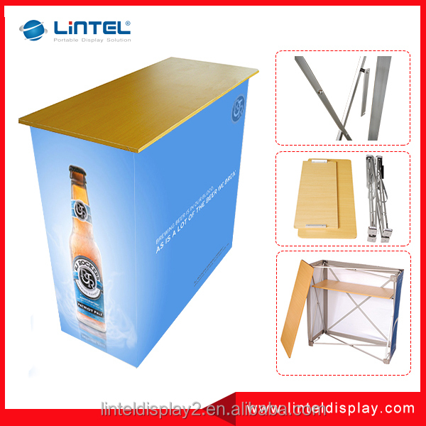 Promotional aluminum material pop up folding advertising desk