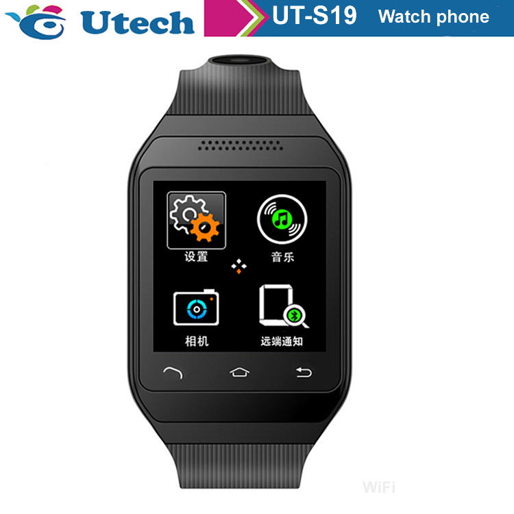 In stock andriod system front camera i watch phone Mobile Phone S19 black color