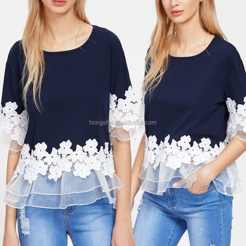 60a9ae7dd5 Latest Design Girls Top Lace Applique Layered Mesh Trim Tee T Shirts In  Bulk HSt5306
