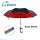 custom black red double layer fiber car reverse auto umbrella
