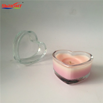 Heart Shape Transparent Jar Cheap Scented Pink Wax Candles