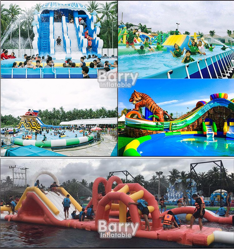 largest 3 lane giant inflatable trippo water slide for adult