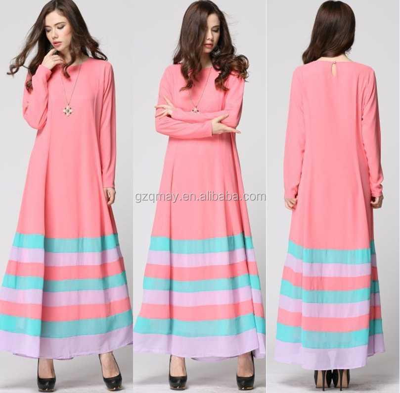 Latest Korean Fashion Dress Design Contrast Color Fashion Dress ...