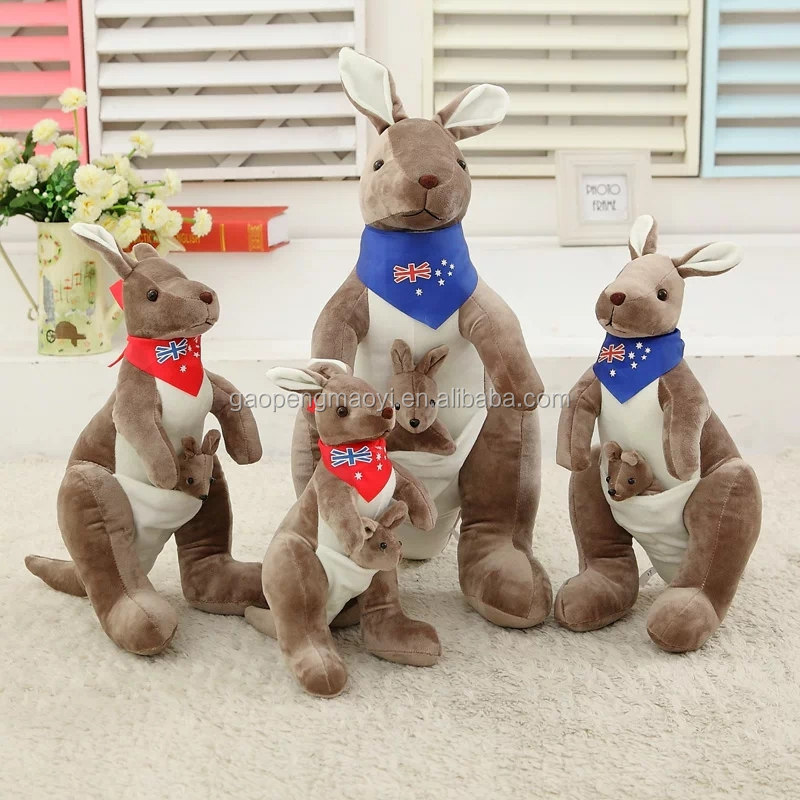 Wholesale Kangaroo with scarf Plush Doll Plush Toy Australia kangaroo baby carry mother and child