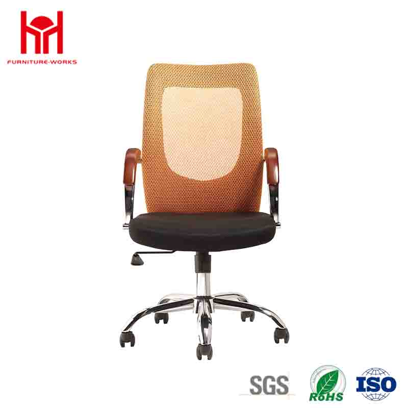 Classical ergonomic executive five-star base wooden mesh office chairs