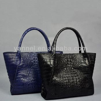 Women Crocodile Skin Handbag No Name Leather Bags Luxury Exotic Handbags