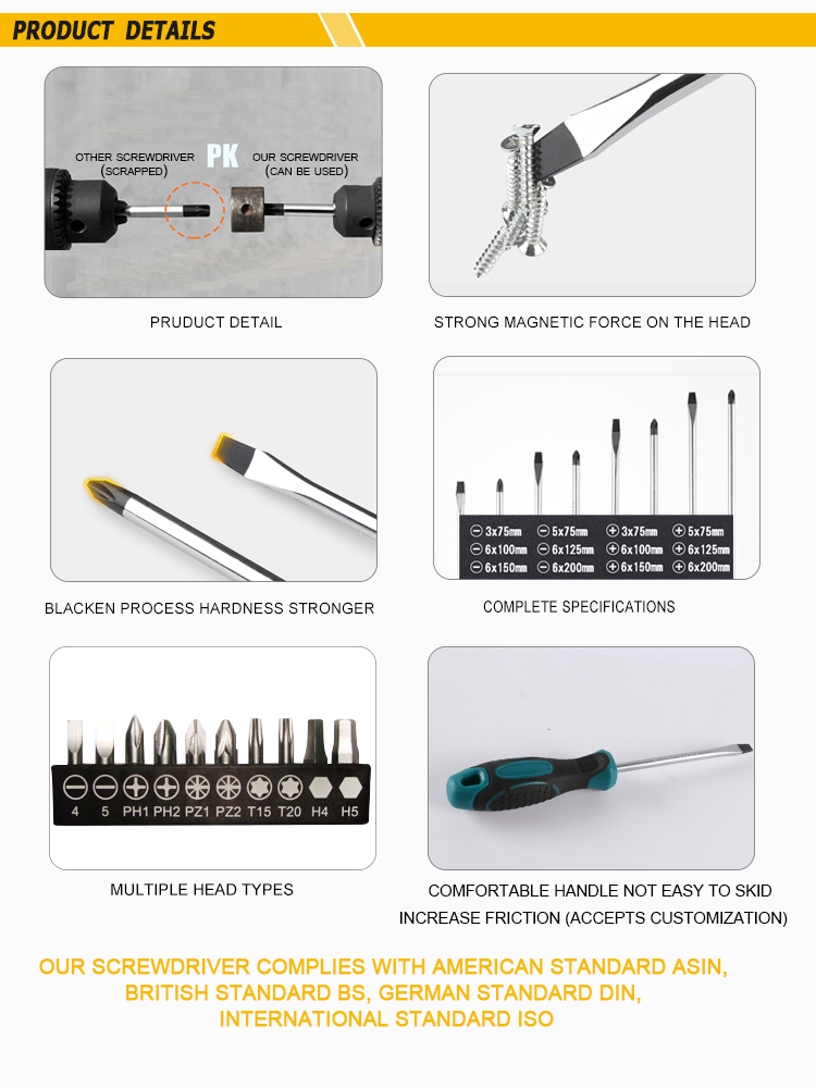 Customized High Precision Cr-V Magnetic Screwdriver Treatment Pvc Torque Screw Driver