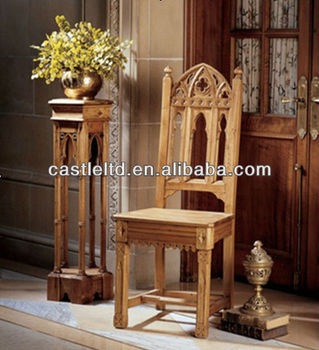Beautiful Hand Carved Gothic Chair,Antique Solid Light Oak Wood Dining Chair,high  Back Chair