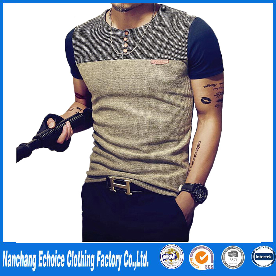 2017 Summer Fashion Men's T Shirt Casual Patchwork Short Sleeve T Shirt Mens Clothing Trend Casual Slim Fit Hip-Hop Top Tees