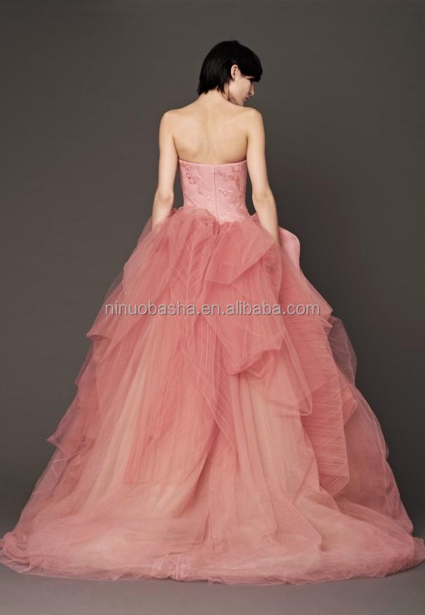 2015 elegante Rosa vestido de bola sin tirantes corsé de encaje ...