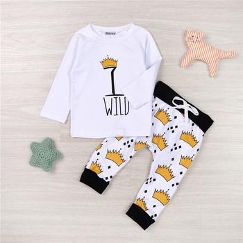 2cc5a197 Newborn Kids Baby Boys Girls 2pcs Outfits Long Sleeve Toddler Baby Letter  Wild Print T-shirt Crown Leggings Pants Clothing Set - Buy New Fashion Cute  ...