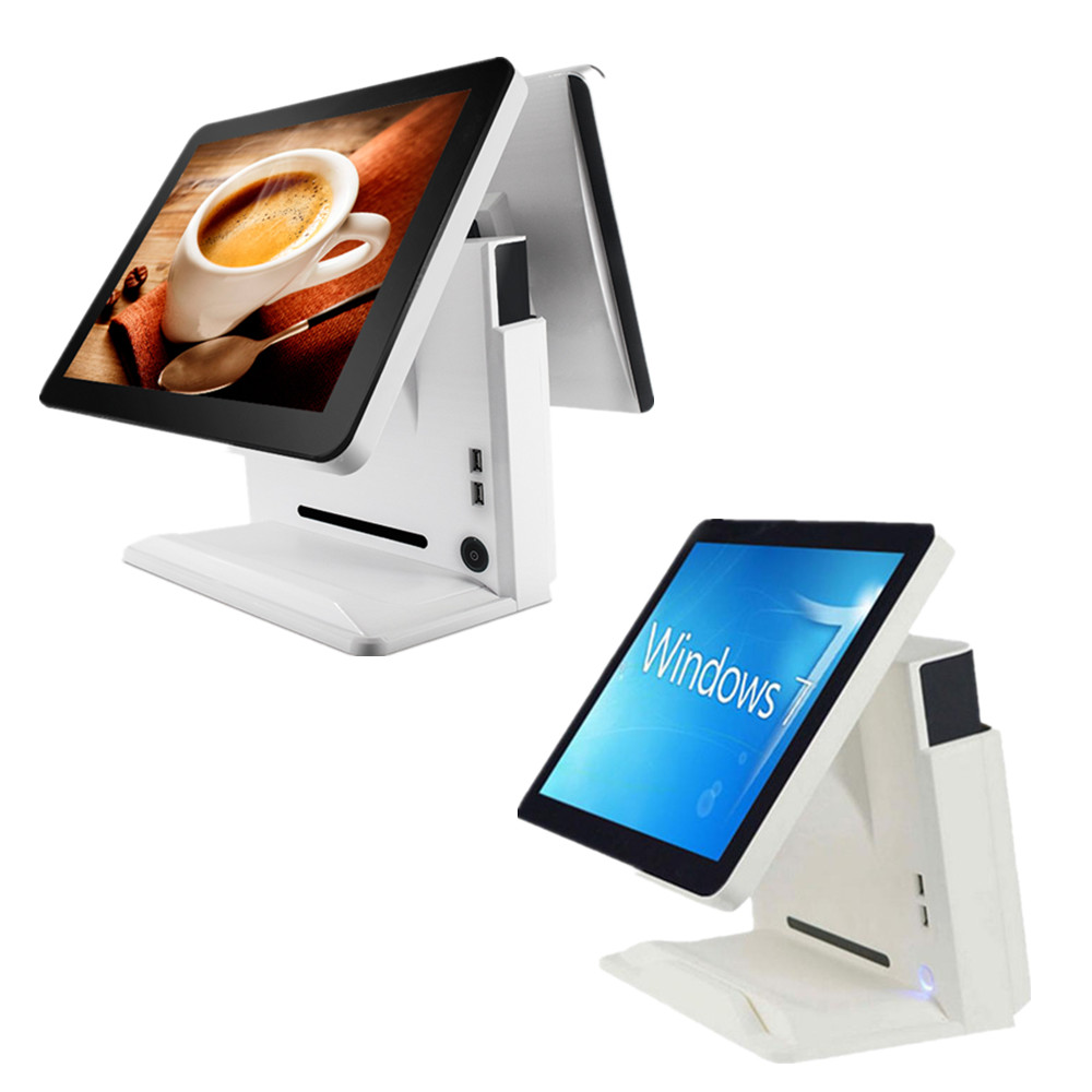 "White color 15inch dual monitors windows 12"" lcd pos tablet"