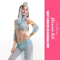 Shimmy and Shake Blue Sheer Chiffon Gold Trim Sexy Indians Cowgirls Gypsy Genie Costumes for Women