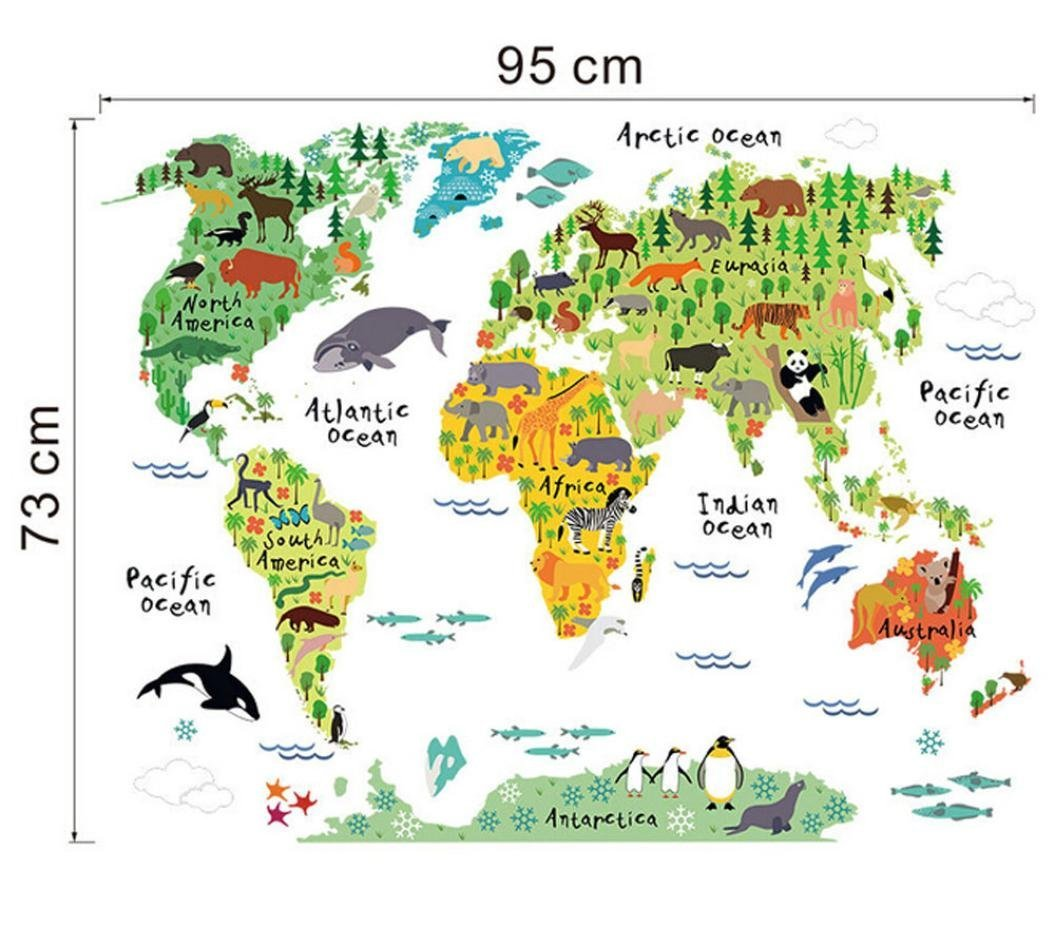 Creazy® Animal World Map Removable Decal Art Mural Home Decor Wall Stickers