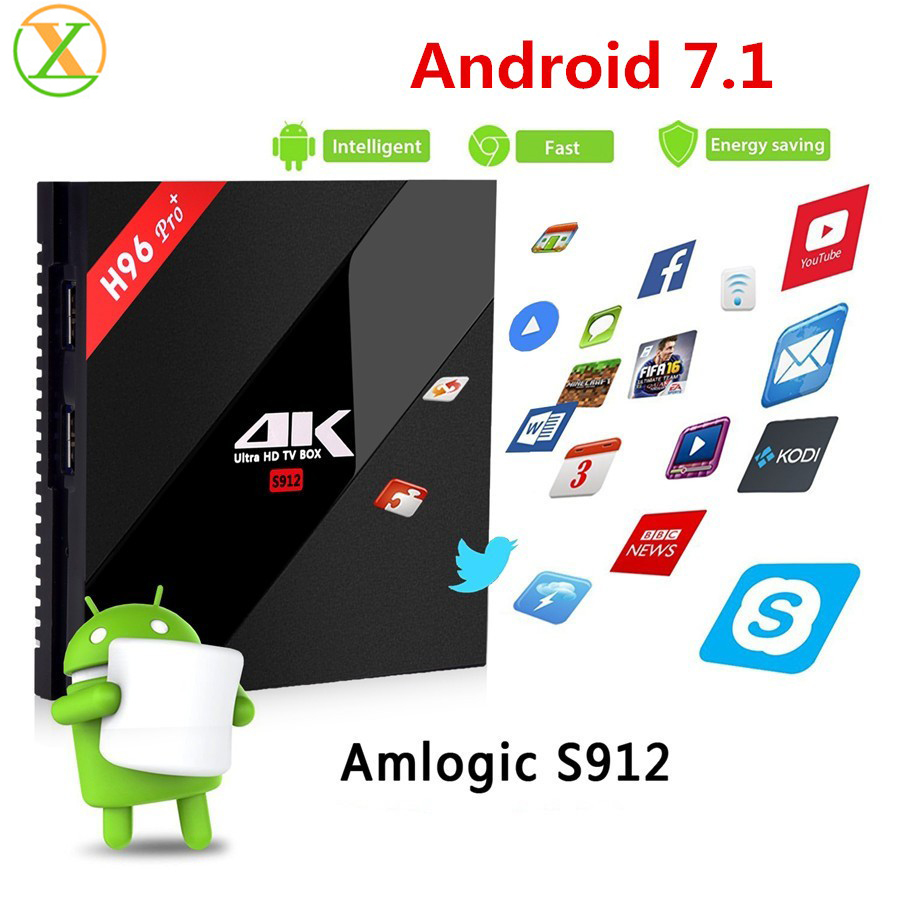 Shenzhen Original factory Android Tv Box H96 pro plus amlogic S912 oca core 3gb ram 32gb Kodi17.1 android 7.1 H96 pro+