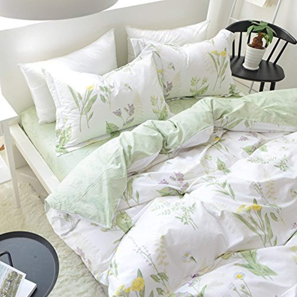 FADFAY Shabby Green Floral Duvet Cover Set Cotton Twin Extra Long Girls Bedding Set 4-Piece:1fitted Sheet+1duvet Cover+2pillowcases,Twin XL Size for Dorm Bedding