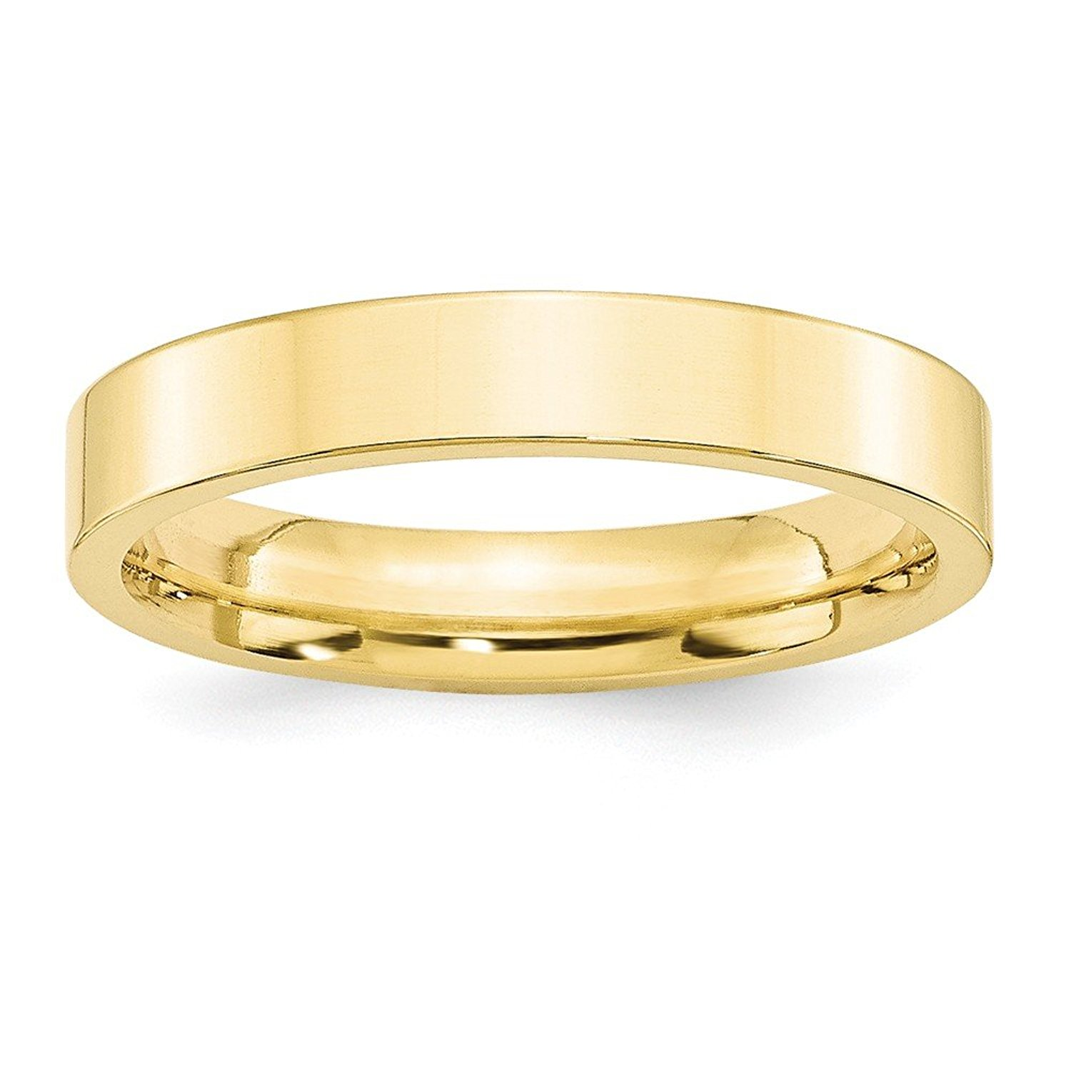 Best Designer Jewelry 10KY 4mm Standard Flat Comfort Fit Band Size 12.5