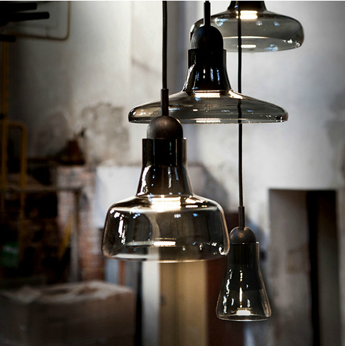 Led Modern Light Smoke Grey Glass Pendant Light