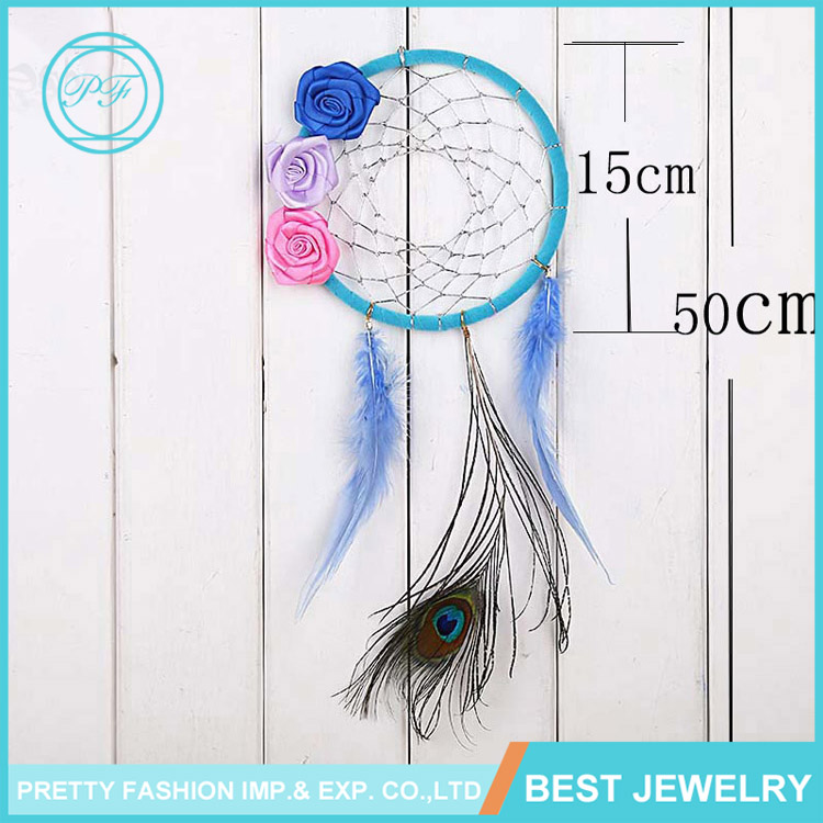 Unique Craft Handmade Ribbon Peacock Feather Dream Catcher with Flower for Home Decoration