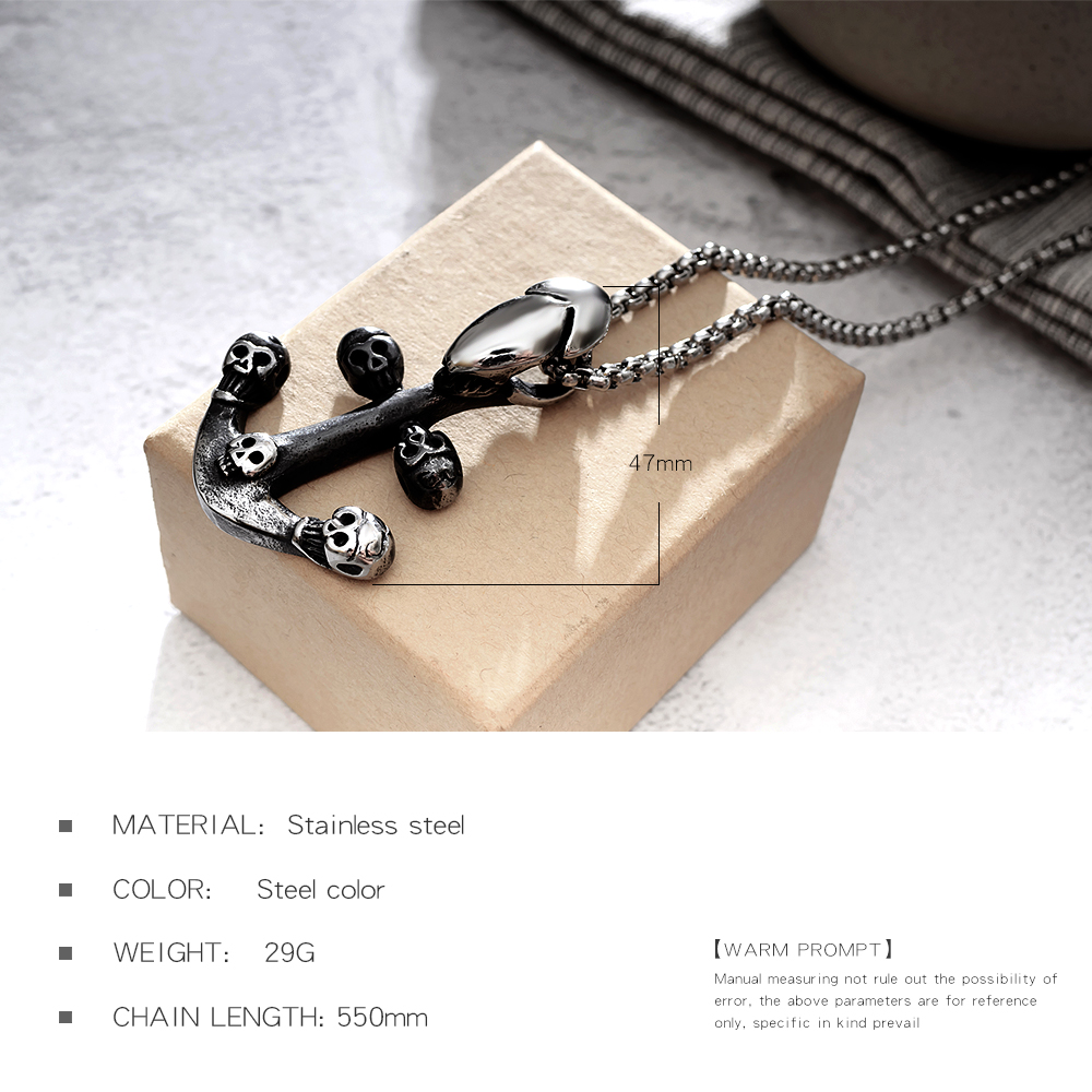 Custom Stainless Steel Anchor Skull Design Mens Jewelry Trendy Necklace