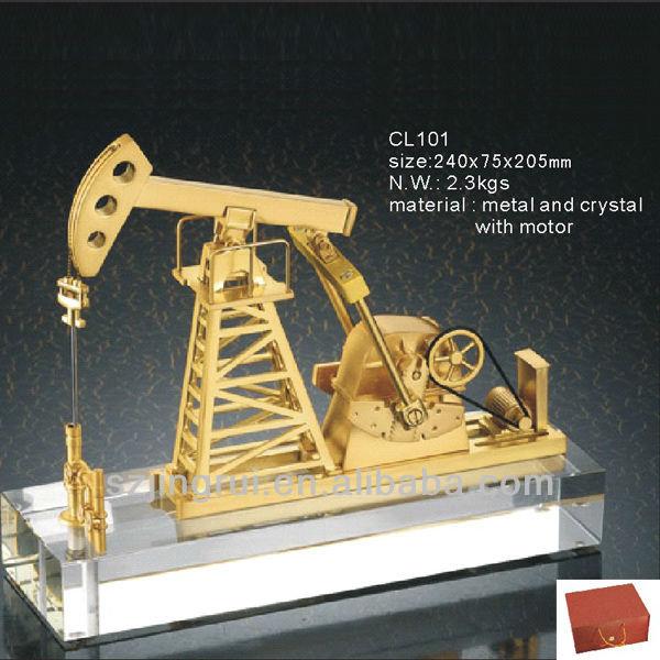 Handmade Crystal Oil Rig Model Gift