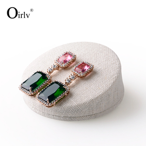 Oirlv Wholesale Custom MDF Linen Jewellery Stand Sets for Counter Showcase Ear Stud Earrings Holder