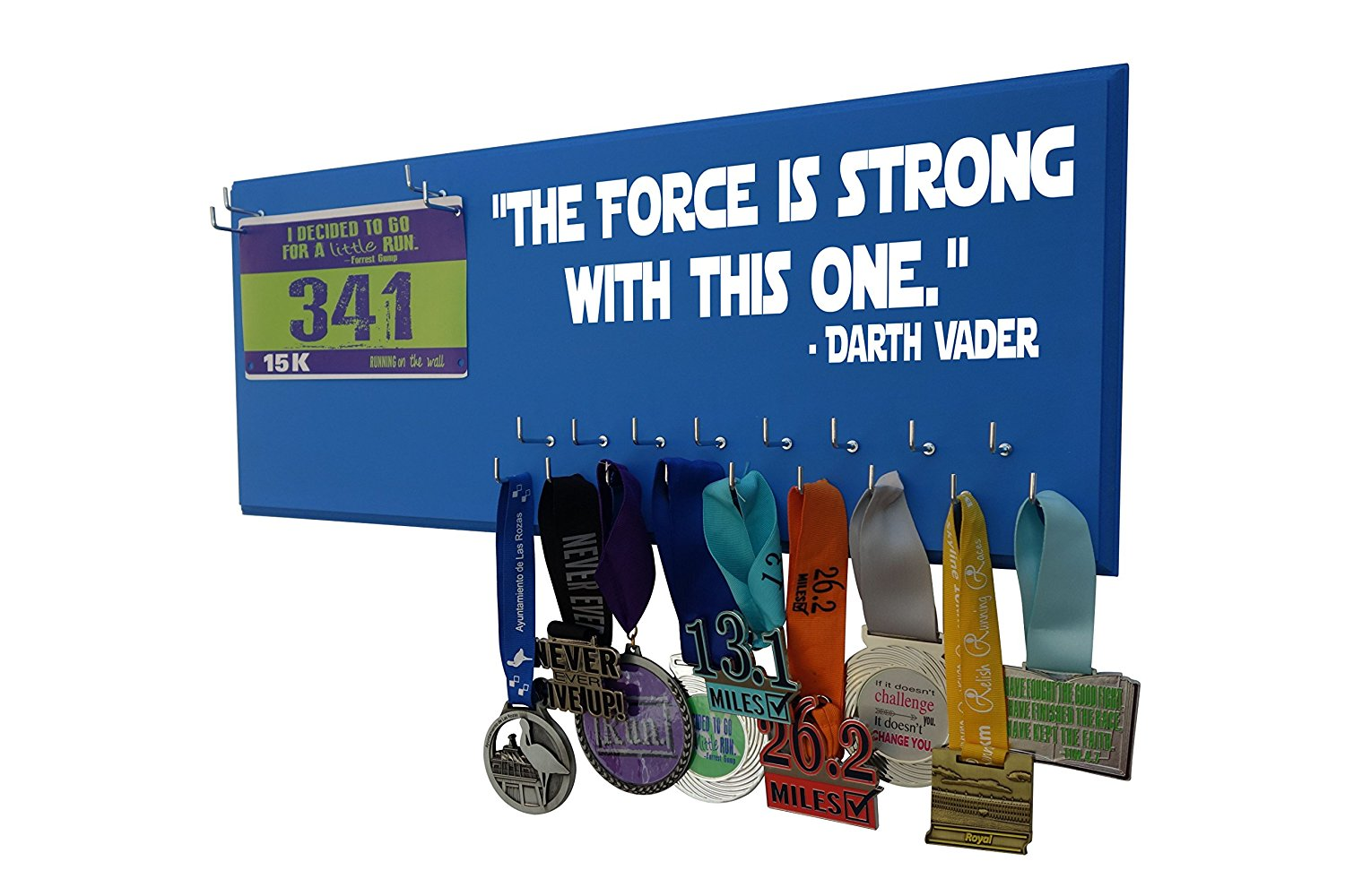 "Running on the Wall - Star wars medal hanger, Star wars medal hangers for runners, medal holder, Disney medal holders Darth Vader; running medal hanger ""THE FORCE IS STRONG WITH THIS ONE"""
