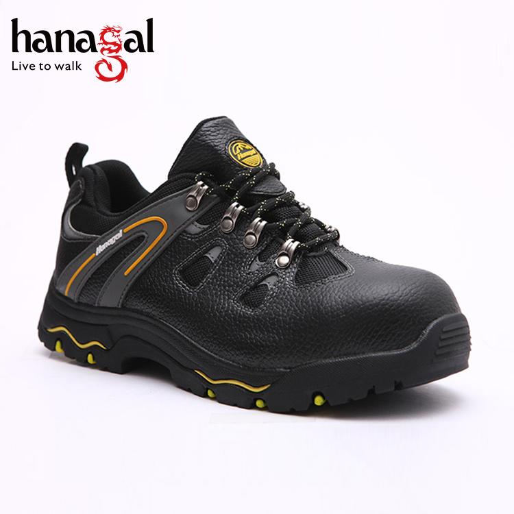 sole Leather Oil security Grain PU Full guard Rubber Fashionable Antislip shoes resistant Black qnO8HxWS