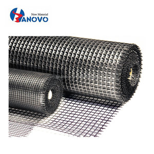 Both overlying and underlying asphalt layers fiberglass self-adhesive geogrid