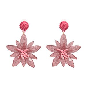 High-quality Wholesale Flower Beads Colors Acrylic Stud Big Exaggerate Stud Earrings For Women