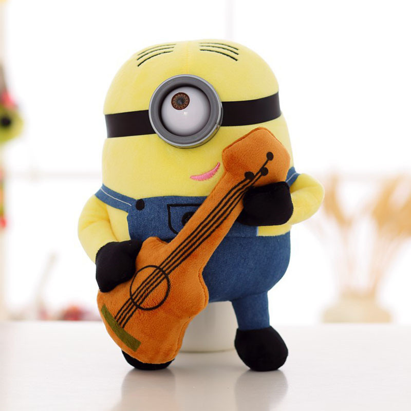 Brinquedos Minions Toys Plush Doll Guitar Stewart Despicable Me Creative Minion 3D Eyes Yellow Soybeans Minion TV Baby Plush