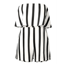 59b0f2149d5 Free Shipping Strapless Jumpsuits Women Fashion Summer Off Shoulder Striped  Rompers Black-White Outfit 80509
