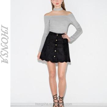 Fashion Black Micro Mini Skirt Scalloped Button Mini Pencil Skirt