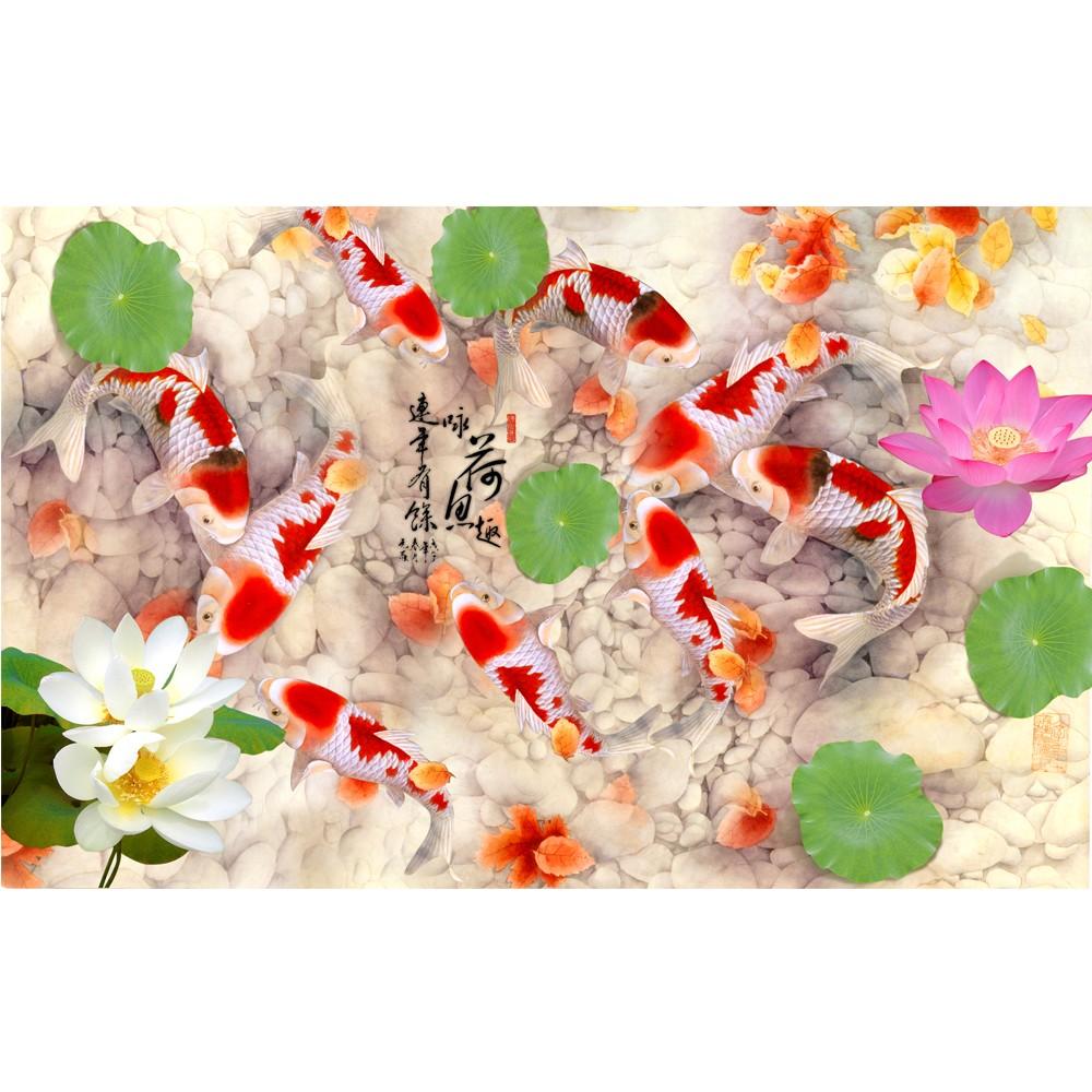 Lotus Flower Decoration Murals Wallpaper 3d Wallpaper Fishi Lotus