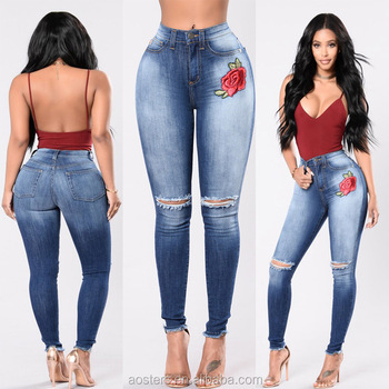 embroidered cut knee high waist skinny perfect fit stock of ladies