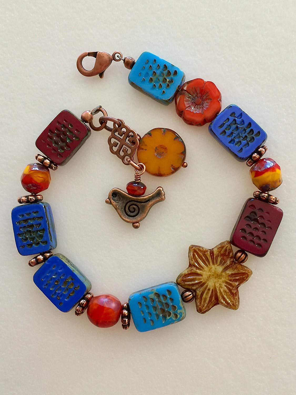 Czech Glass Bracelet, Blue And Orange Premium Picasso Beads, Czech Flower Bracelet, Copper Bird, Boho, Rustic, Beaded, Copper Accents.