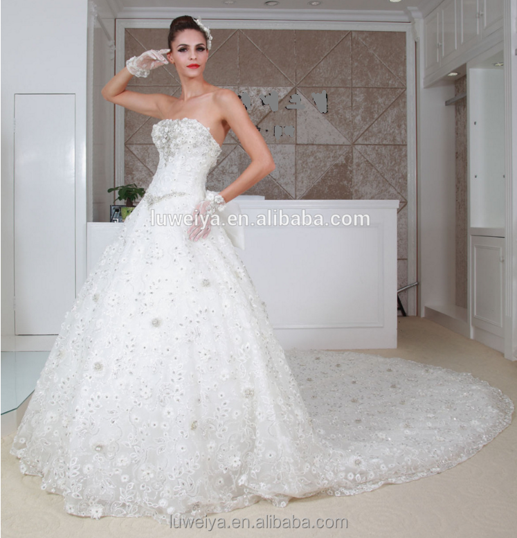 2014 Off Shoulder Wedding Dress Heavy Beading Bust Ball Gown Skirt ...