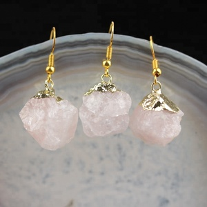 AM-YDSS108 Natural Pink Quartz Nugget Stone Earrings,Rose Quartz Pendant Beads Drop Earrings