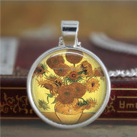 Vincent necklace,Van Gogh Yellow Sunflowers necklace Famous Paintings Fine glass necklace
