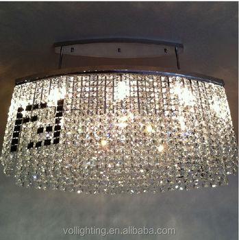 Modern Led Crystal Pendant Ceiling Lamp Fendi Sign Home Hotel Decor Interior Decoration Clothes