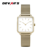Square shape gold color 316L stainless steel case customized minimal lady watch for christmas gifts