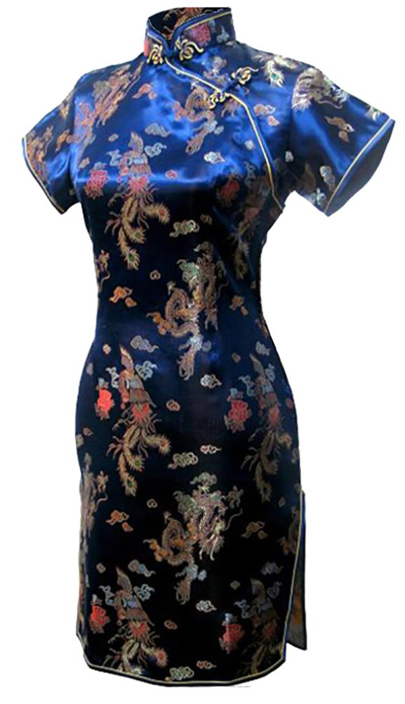 7Fairy Women's Vtg Navy Blue Dragon Mini Chinese Prom Dress Cheongsam