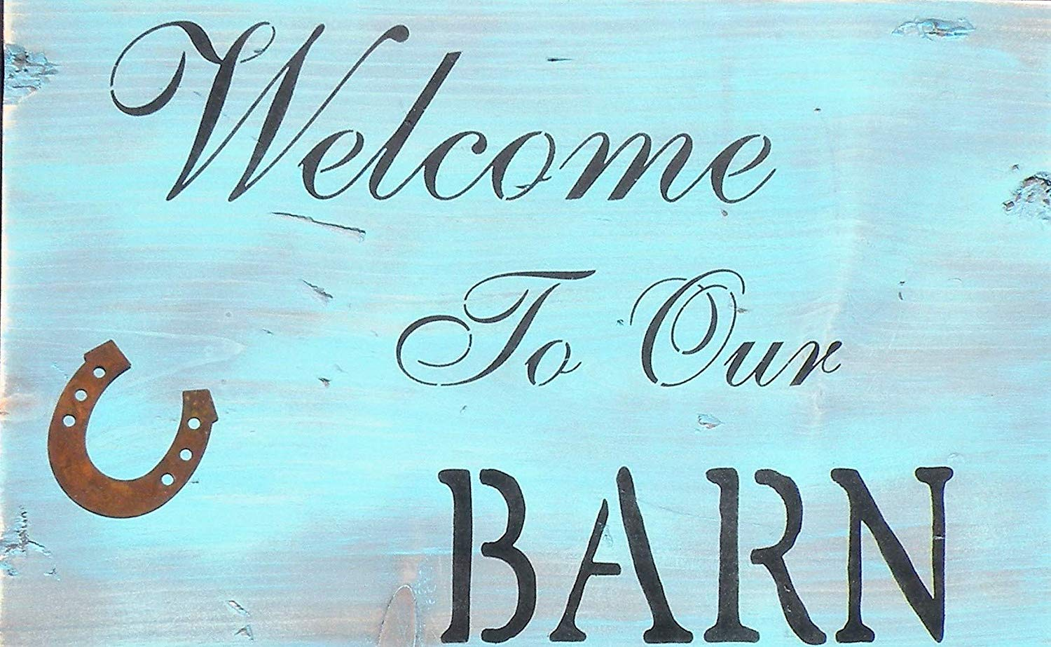 Vintage Aqua Gray Welcome To Our Barn Handmade Rustic Sign, Distressed Pine Wood Barn Wood Style Farmhouse Welcome Sign, Black Hinge Barn Wood Quote Sign, Worn Blue Barn Rusty Horse Sign, Barn Star