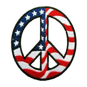 US American Flag Peace Sign Embroidery patch